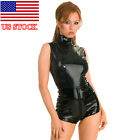 US STOCK Women Wetlook PVC Teddies Catsuit Jumpsuit Romper Club Bodycon Costume