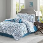 Shades of Blue & Grey Paisley Comforter Set AND Matching Sheet Set - ALL SIZES