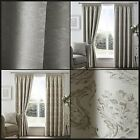 Astrid Ready Made Lined Curtains Pencil Pleat Vintage Floral Swirls Damask Pair