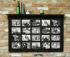 """Barn Wood 20 Pane Rustic Picture Frame With 4"""" Shelf Holds 5"""" x 7"""" Photos!"""