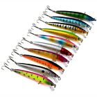 Lot 10pcs Fishing Lures Crankbaits Minnow Baits 6# Hook Tackle Crank 9.5cm/8.5g