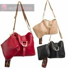 NEW LADIES BUCKLE DETAIL TRIBAL STRAP FAUX LEATHER CROSS-BODY SHOULDER BAGS SET