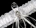 Pretty White Satin and Lace Wedding Prom Bridal Garter Belt with Rhinestones