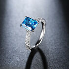 Women Silver Ring with Shiny Blue Zircon Platinum Plated Engagement Rings Lady
