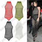 New Ladies Sleeveless Full Fishnet Mesh Halter Neck SlimFit Bodysuit Leotard Top