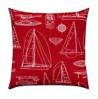 Red Nautical Outdoor Pillow, Sailing Boat Decorative Throw Pillow, Sailing Red