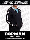 1 x Hooded Full Zip Jacket - Black with White Stripes SOFTTerryTowel Lightweight