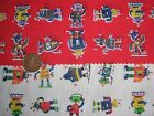 Red and white Robots Poly/cotton  fabric price per metre