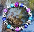 Magnetic Hematite Therapy bracelet purple/blue/aqua & 1 mother of pearl 6 - 10