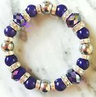 Magnetic Hematite Therapy bracelet with royal blue colored lucites all sizes