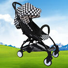 New Pushchair Lightweight Mini Baby Stroller Buggy From Birth Black White Plaid