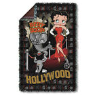 "BETTY BOOP HOLLYWOOD NIGHTS WOVEN THROW BLANKET (36""X58"") FREE SHIPPING IN US $55.99 USD"