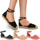 Womens Ladies Ankle Strappy Flat Sandals Summer Espadrilles Rock Stud Shoes Size