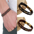 Men's Braided Genuine Leather Stainless Steel Cuff Bangle Bracelet Wristband Top