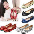 Womens Glitter Sequins Bowknot Wedding Ballet Flats Shoes Pointy Toe Loafers