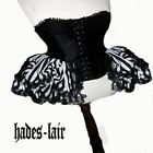 HADES BLACK WHITE STRIPE PANNIERS VICTORIAN GOTH BURLESQUE LACE SKIRT STEAMPUNK