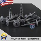 #8 Black Wafer Head Tek Pointed Metal Screws (1/2' 3/4' 1') Phillips Truss Head