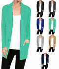 Ribbed Trim Banded Long Sleeve Open Front Cardigan Sweater W/ Pockets S~XL