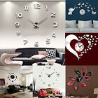 3D DIY Wall Clock Fashion Mirror Sticker Living Room Home Modern Decor Utility