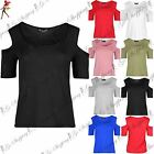 Womens Ladies Strappy Cold Cut Shoulder Cut Out Short Sleeve Jersey T-Shirt Top