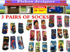 3X Girls Cartoon Short Socks 2 sizes S and L Bright Fun Kids Lovely Cute Socks