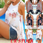 UK New Women Summer Floral Vest Sleeveless Top Beach Casual Loose T...