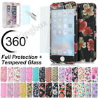 Ultra Thin Full Body Hard Case Cover + Tempered Glass For iPhone 5S 6 6S 7 Plus