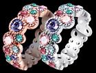 Colorful Platinum Plated or Rose Gold Plated Ring