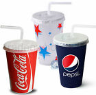 Coca Cola, Pepsi, Starball Paper Cups, With Lids, Cold Drinks Cup Party Catering £8.49  on eBay