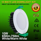 10W LED DOWNLIGHT KIT DIMMABLE 70MM CUTOUT WARM/DAYLIGHT IP44 White/Satin Chrome