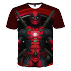 Men 3D Anime Deadpool Print Funny T-Shirt Casual Round Collar Graphic Tee Tops