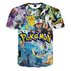 Summer Men 3D Anime Pikachu Print Funny T-Shirt Casual Round Collar Graphic Tee