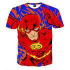 Summer Men 3D Red Superman Print Funny T-Shirt Casual Round Neck Graphic Tee Top