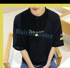 Mens Personalised Crew Neck Half Sleeve Coat Students T-shirt Hip Length Outwear