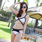 Korean Style Women Sexy Cut Out Bandage Bikini Set Padded Bra Swimsuit Swimwear