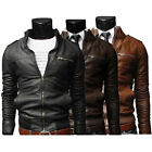 Hot Men's fashion jackets collar Slim motorcycle leather jacket coat outwear !