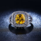 Halo Women's Fashion Size 6,7,8 Yellow Topaz 18K Gold Filled Engagement Rings