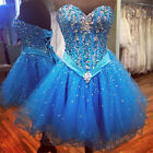 New Beaded Blue Prom Dresses Sweetheart Short Tulle Cocktail Homecoming Dresses