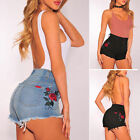 Summer Women Casual High Waisted Embroidered Floral Denim Hotpants Shorts Jeans
