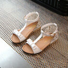Fashion  Kid Flat Heels Shoes Girls Baby Bow Open Toe Sandals Shoes Party Dress