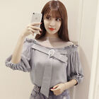 New Korean Lantern Sleeve Fashion Chiffon Blouse Women Summer Shirt Top Pullover