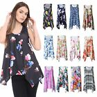New Ladies Sleeveless Floral Printed Hanky Hem Baggy Flared Dress Tunic Vest Top