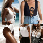 Women's sleeveless Lace Up Bodysuit Jumpsuits Holiday Mini Playsuit Stretch Tops