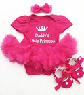Fathers Day BABY GIRL Daddys Princess TUTU ROMPER Pink Party dress gift present