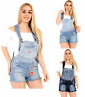 NEW WOMEN'S FLORAL EMBROIDERY/ PLAIN DENIM WASH PINAFORE DUNGAREE PLAY SUIT