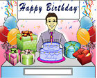 Birthday Male Cartoon Character Personalized Matted Print  Product  11 x 14