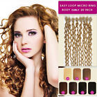 """20"""" MICRO BEAD/LOOP Cruly 100% Human Remy Hair Extensions in 8 colours 50g 100s"""