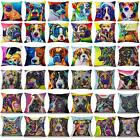 Colorful Dogs & Cat Cotton Linen Throw Pillow Case Sofa Waist Cushion Cover Gift