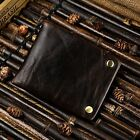 Mens Crazy Horse Leather Cowhide Bifold Card Case Wallet With Snap Button