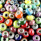 10X Candy Color Ceramic Round Silver Big Hole Beads Fit European Charm Bracelet
